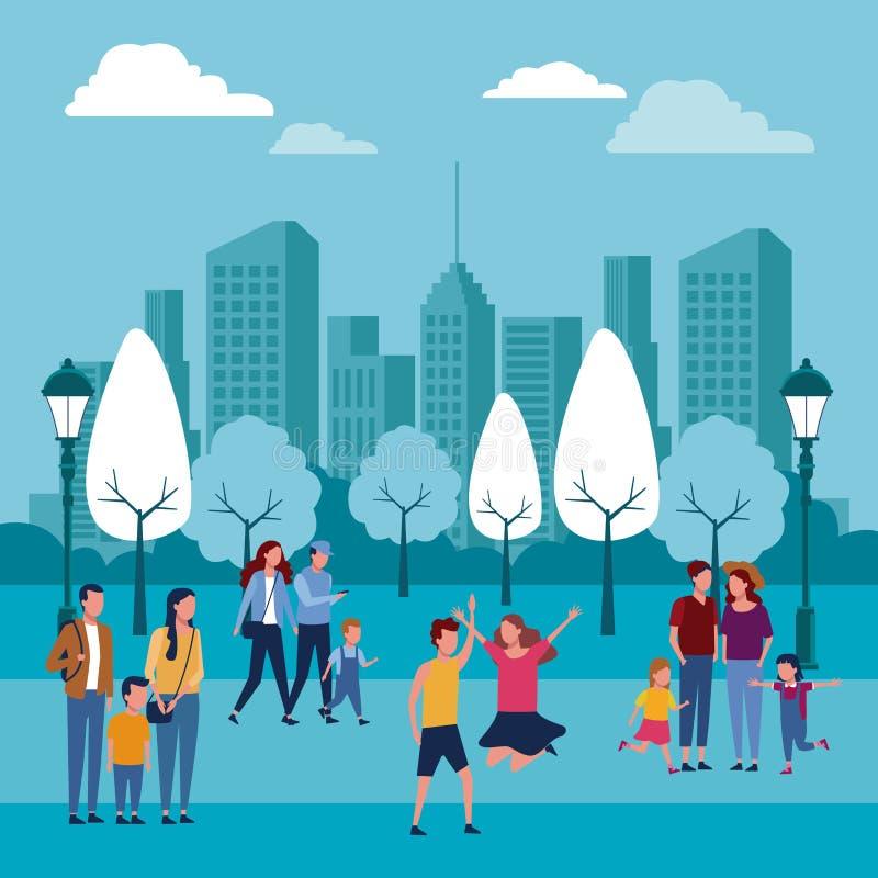 Familles au parc illustration libre de droits