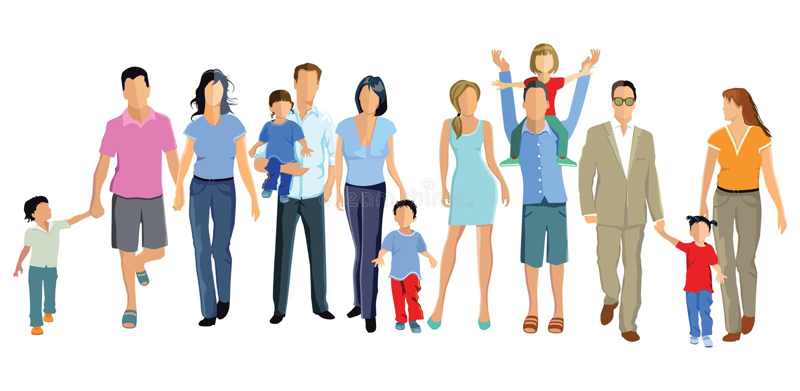Familles avec des enfants illustration stock