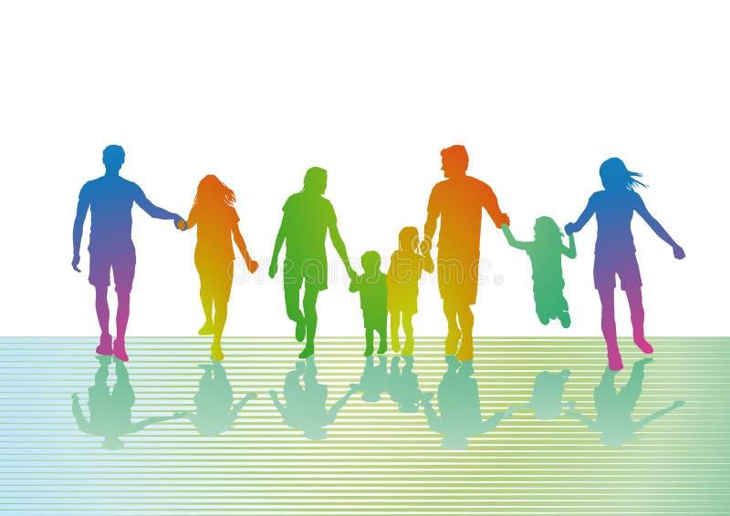Familles colorées marchant  illustration libre de droits