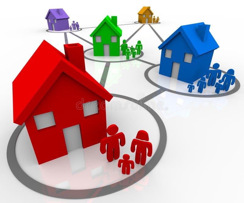 Familles connectés dans les voisinages illustration de vecteur