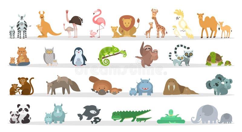 Familles d'animaux réglées illustration de vecteur