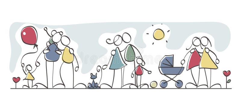 Familles drôles illustration de vecteur