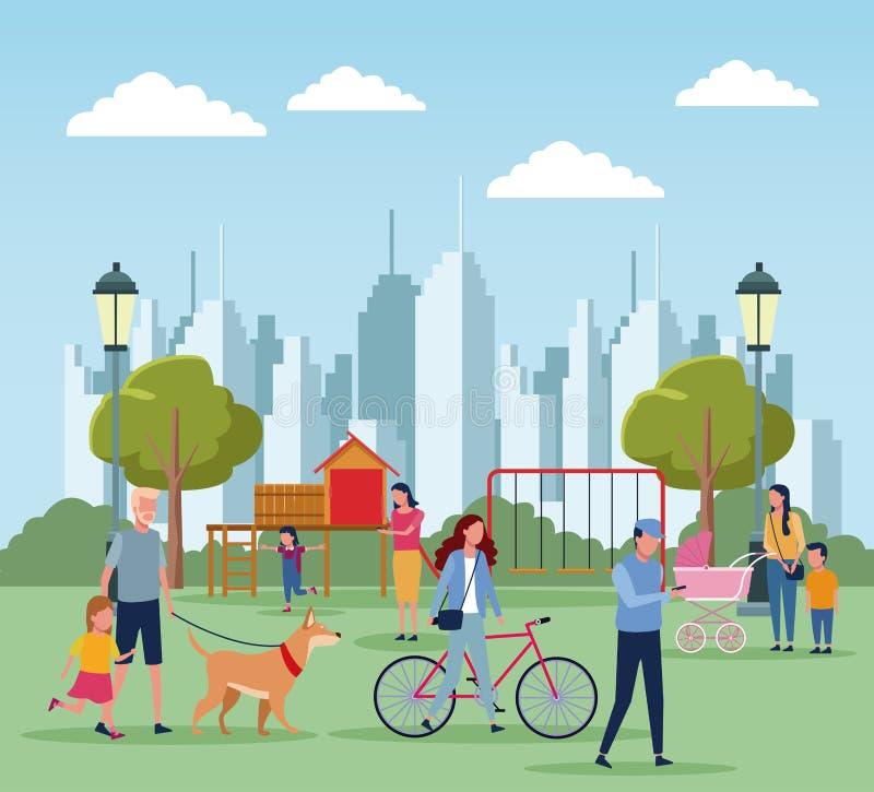 Familles en parc illustration libre de droits