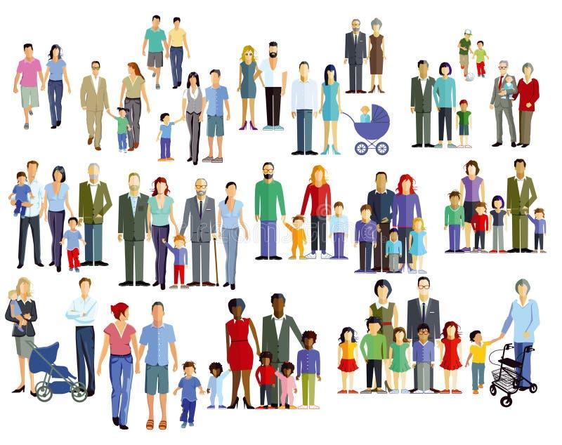 Familles et générations plus anciennes illustration stock