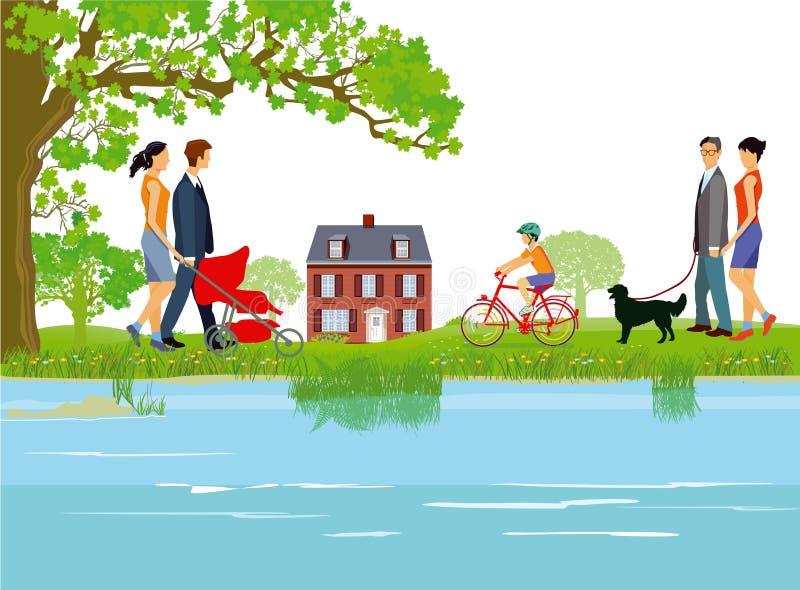 Familles marchant par le lac illustration de vecteur