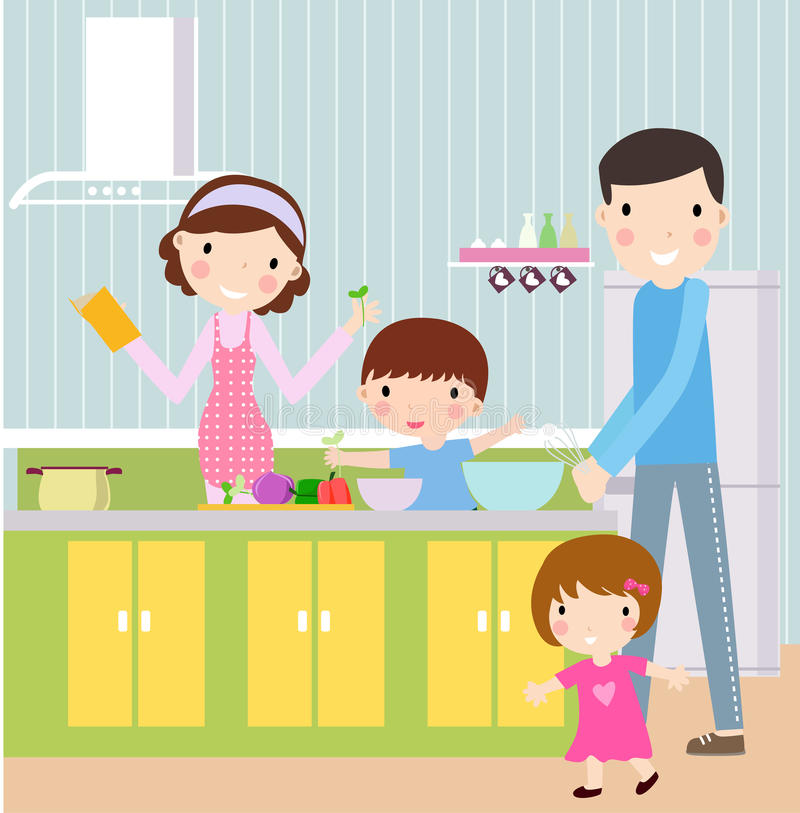 Familly cook. Parents with children cooking -illustration art,cute