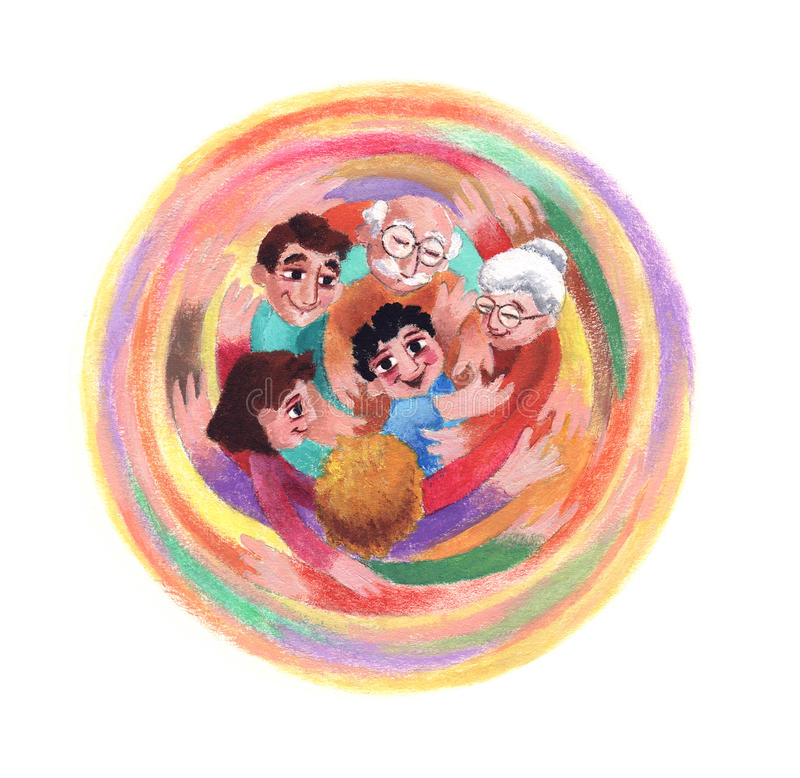 Family. Has to take care of child. Fifth point of the Children Rights. A colorful illustration of a great hug of love stock illustration