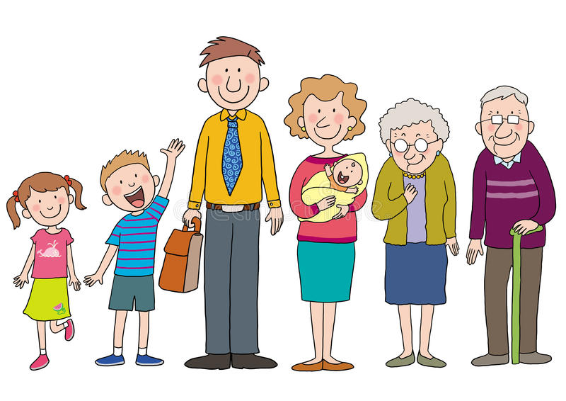 Family. A happy cartoon family with love concept