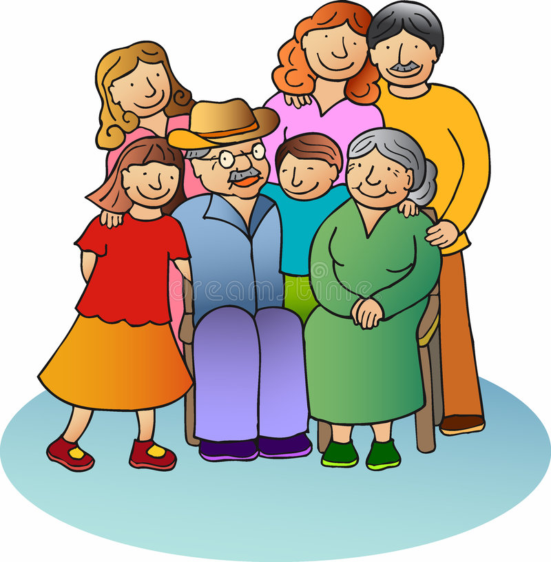 Family 2. Father, mother, son and two daughters, and the grandparents royalty free illustration