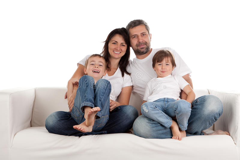 Family. Young parents with children at home royalty free stock images