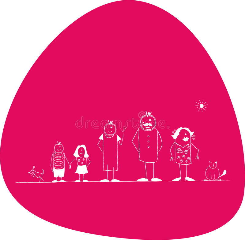 Family. The family, Dad and Mom, sister and brothers, cat and dog, vector stock illustration