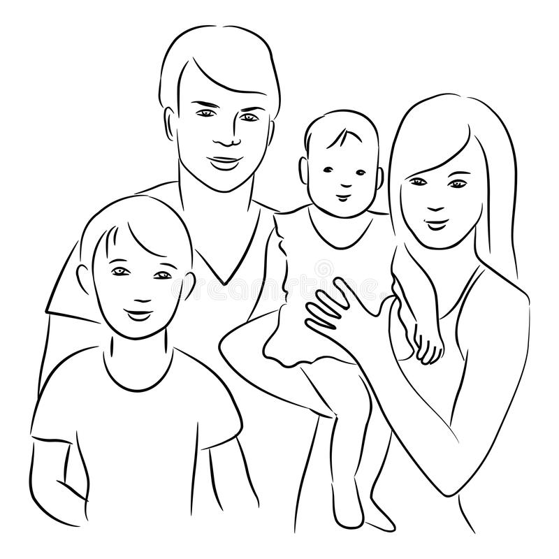 Family. Family - black and white sketch drawing stock illustration