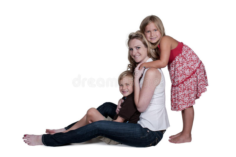 Family. Single mom and her son and daughter stock photos