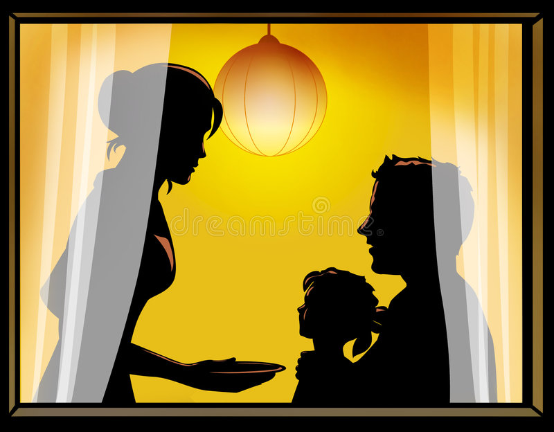 Family of 3 by the window. Mother serving dinner to her husband and daughter. Vector illustration