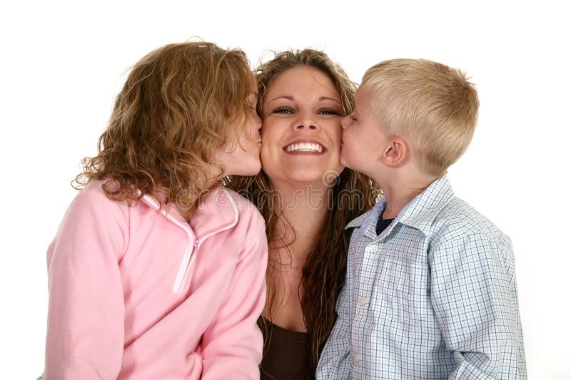 Family. Single mom with her son and daughter over white royalty free stock images