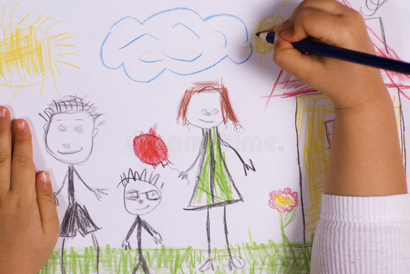 Family. Little girl drawing a happy family