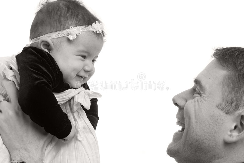 Family. A happy family a father and newborn daughter royalty free stock images