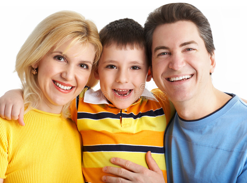 Family. Happy family. Father, mother and boy. Over white background