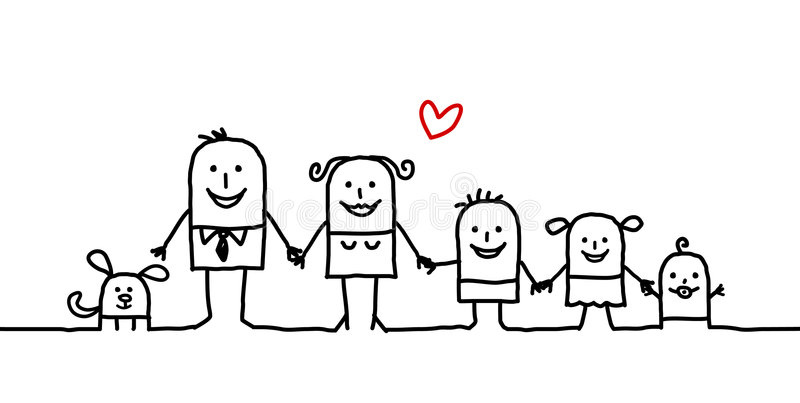 Family. Vector hand drawn characters line