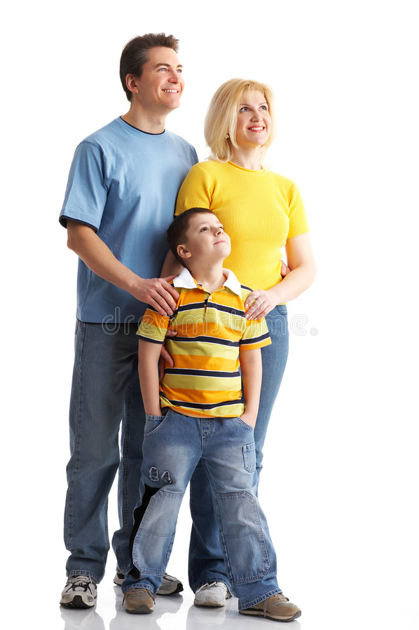 Family. Happy family. Father, mother and boy over white background
