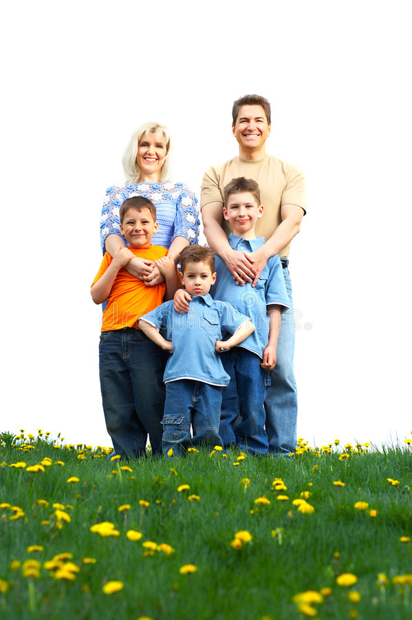 Family. Happy family. Father, mother and sons in the park stock photography