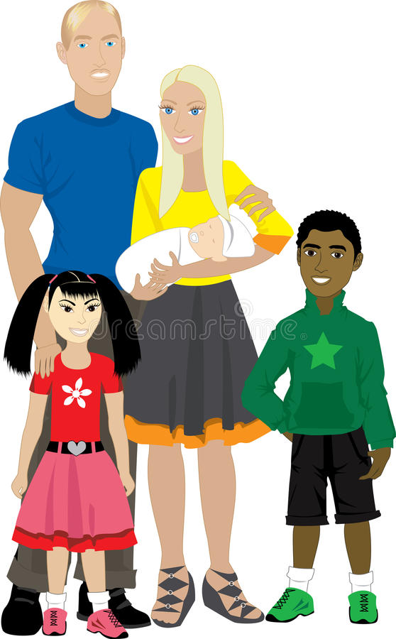 Family 7 Isolated Adopted vector illustration