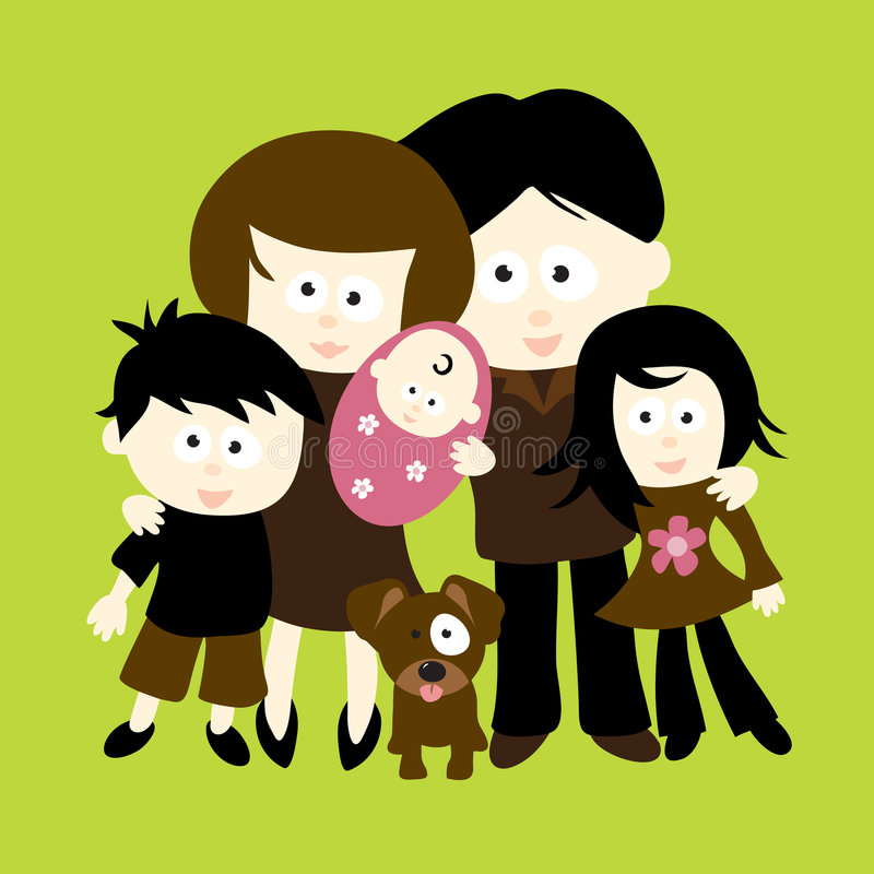 We are Family. Illustration of a family standing together