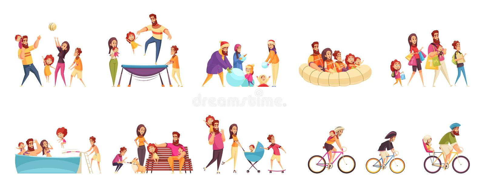 Family Active Holidays Cartoon Set. Set of cartoon icons family active holidays parents with kids in various activity isolated vector illustration royalty free illustration