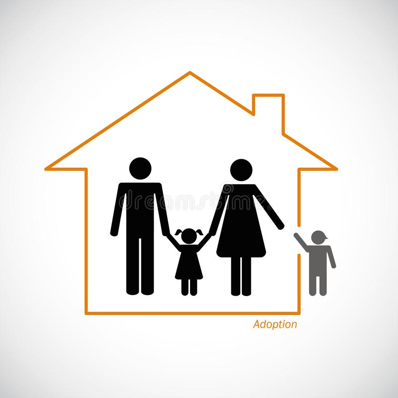 Family adopt a young boy into family. Vector illustration stock illustration