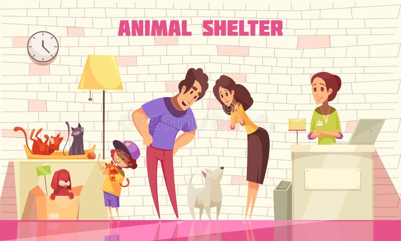 Family Adopting Dog From Animal Shelter royalty free illustration
