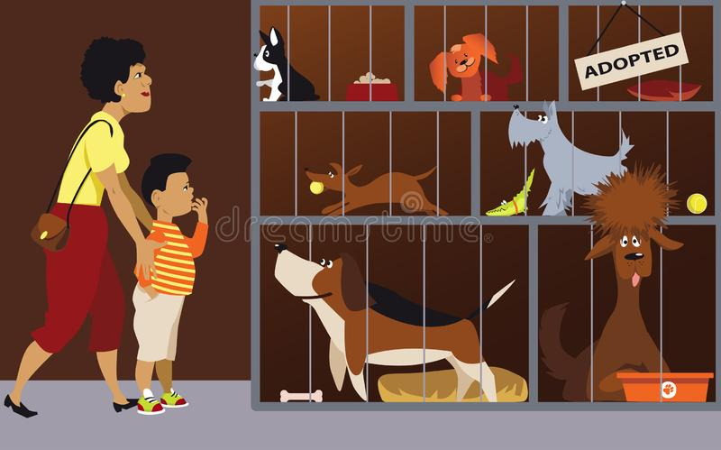 Family adopting a dog. Mother bringing her son to an animal shelter to adopt a dog, EPS 8 vector illustration vector illustration