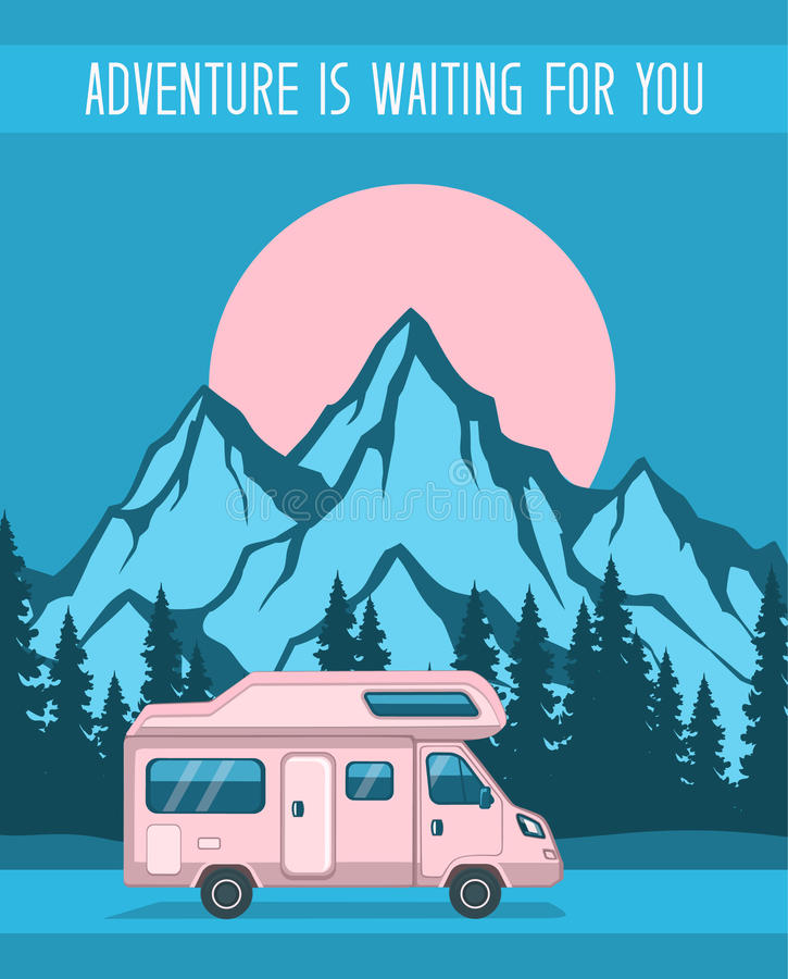 Family Adventure Road trip poster vector illustration