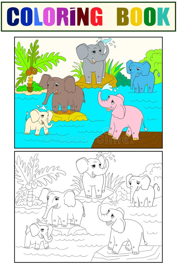 Family of African elephants color book for children cartoon raster. Coloring, black and white. Family of African elephants color book for children cartoon raster royalty free illustration