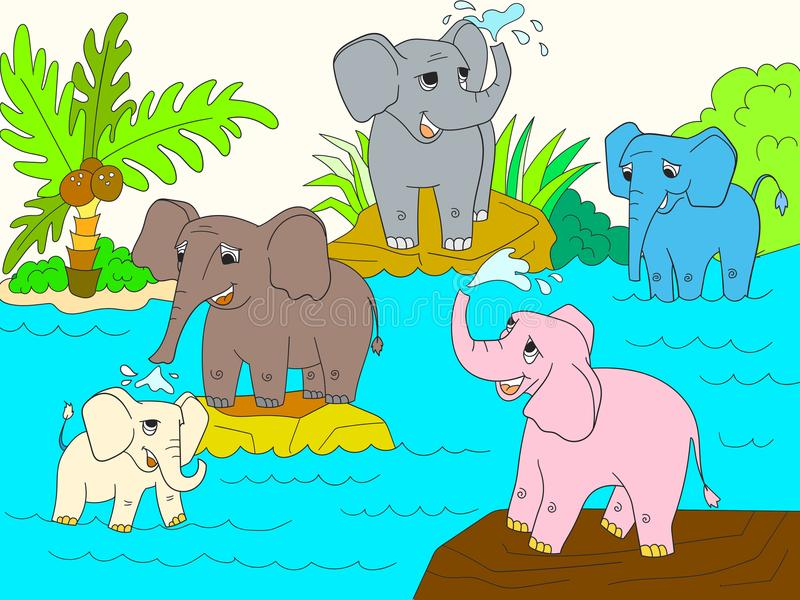 Family of African elephants color book for children cartoon vector. Illustration royalty free illustration