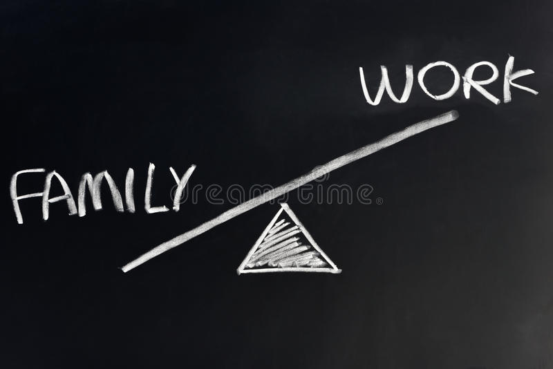 Family against work royalty free stock images