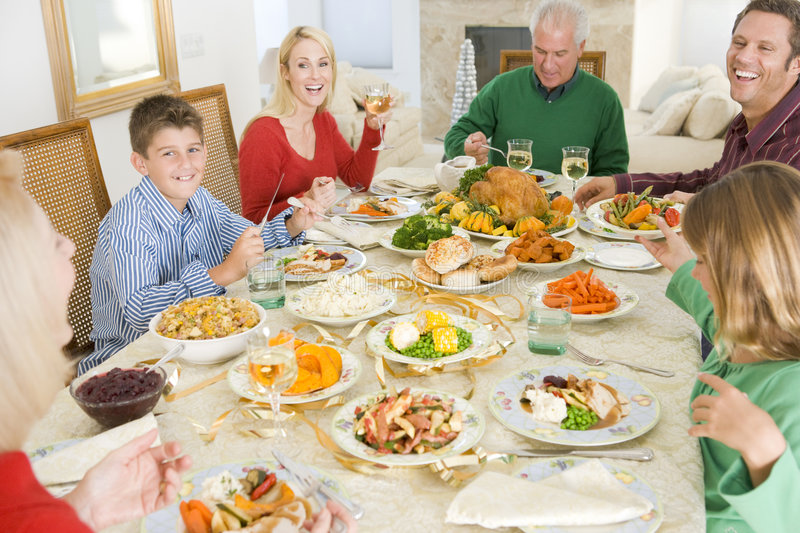 Download Family All Together At Christmas Dinner Stock Photo - Image: 7761258