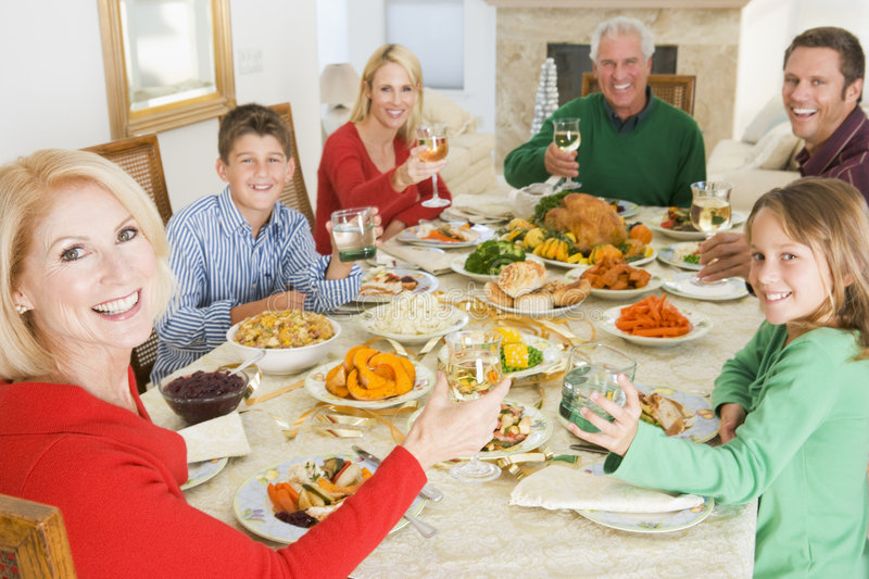Family All Together At Christmas Dinner.