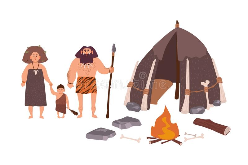 Family of ancient people, cavemen, primitive men or archaic human. Mother, father and son standing beside their dwelling. And bonfire. Stone Age cartoon vector illustration