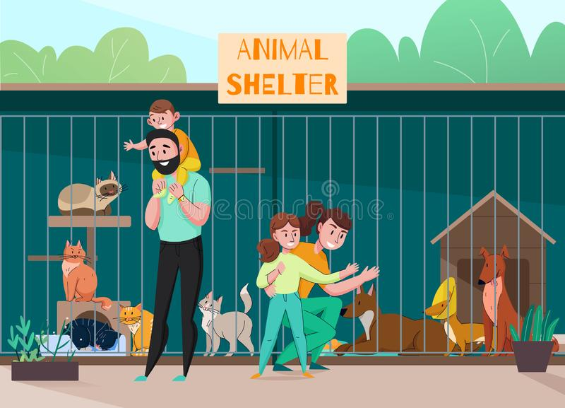 Family Animal Shelter Composition royalty free illustration