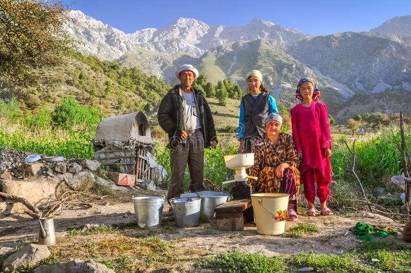 Family in Arslanbob in Kyrgyzstan royalty free stock photography