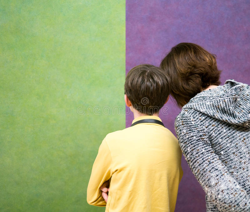 Family at the art museum royalty free stock image