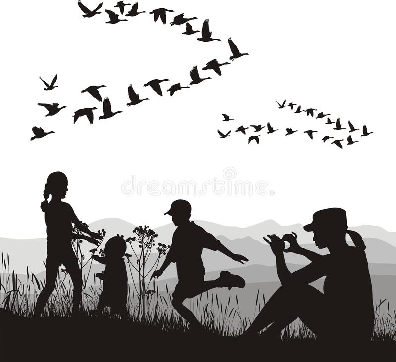 Family in the autumn country vector illustration