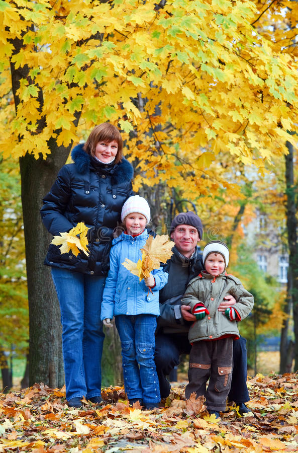 Download Family in autumn park stock image. Image of beautiful - 15511179