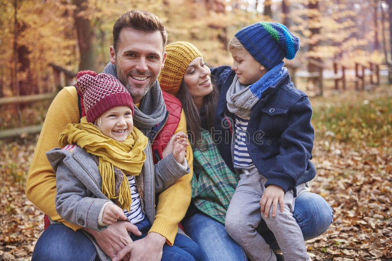 Family during autumn stock image