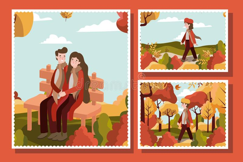 Family and autumn season design. Autumn season colorful cards design with happy couple and kids in the park over orange background, vector illustration stock illustration