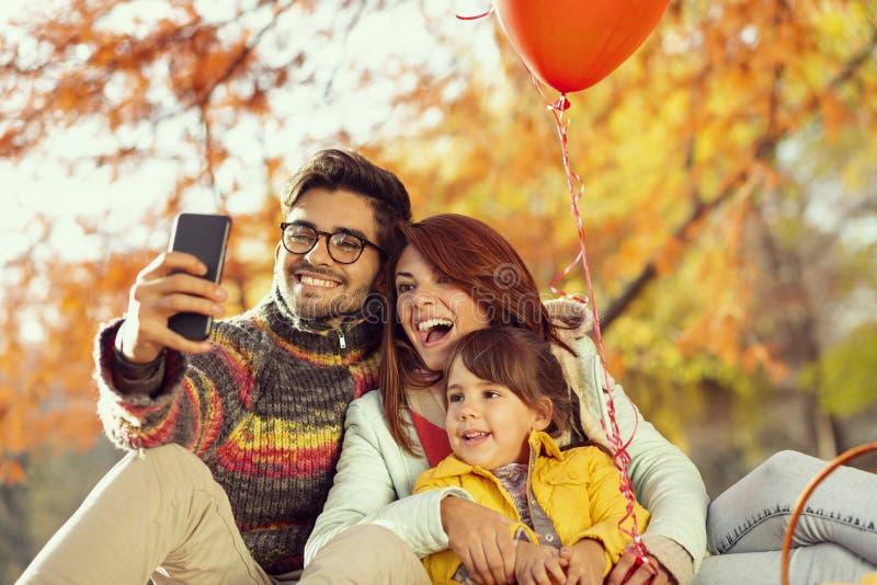 Family autumn selfie stock photography