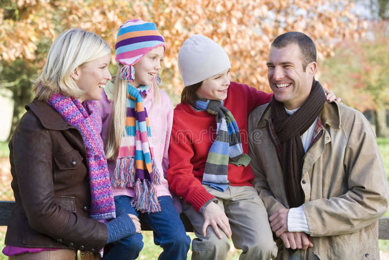 Download Family on autumn walk stock image. Image of season, fence - 5306371