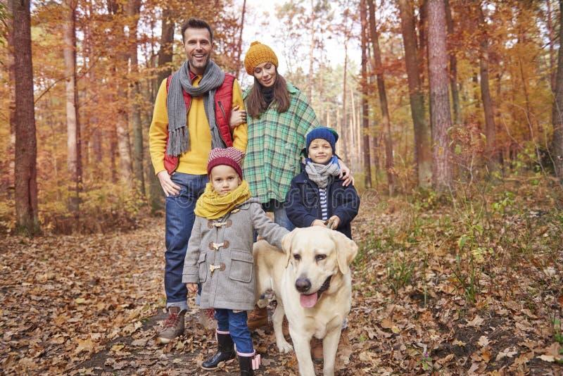 Family during autumn stock photo