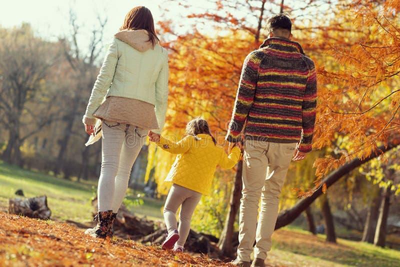 Family autumn walk stock image
