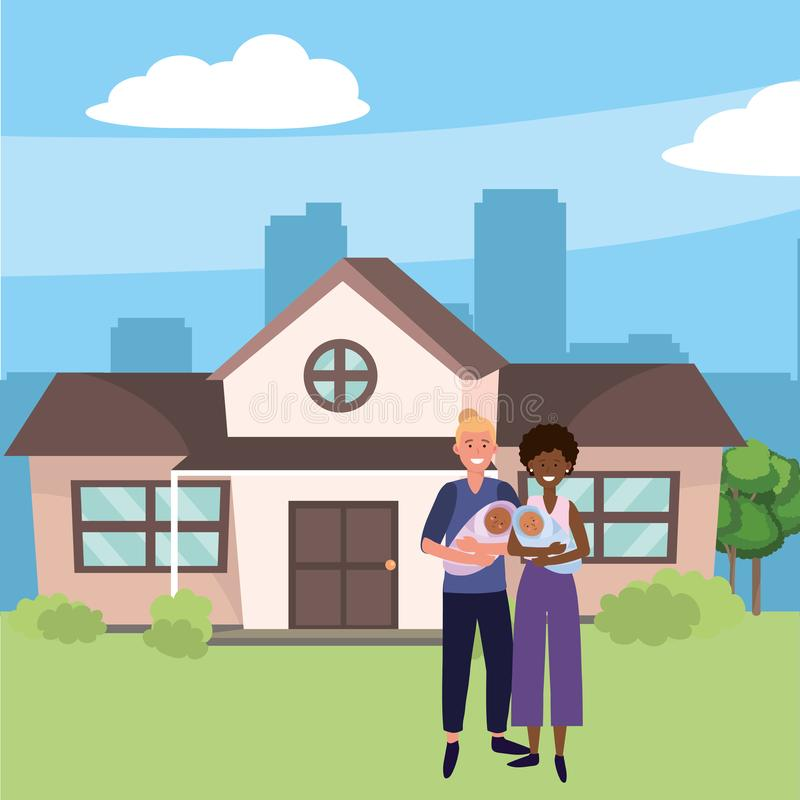 Family baby care cartoon. Family baby care couple with babies at urban big house home cartoon vector illustration graphic design royalty free illustration